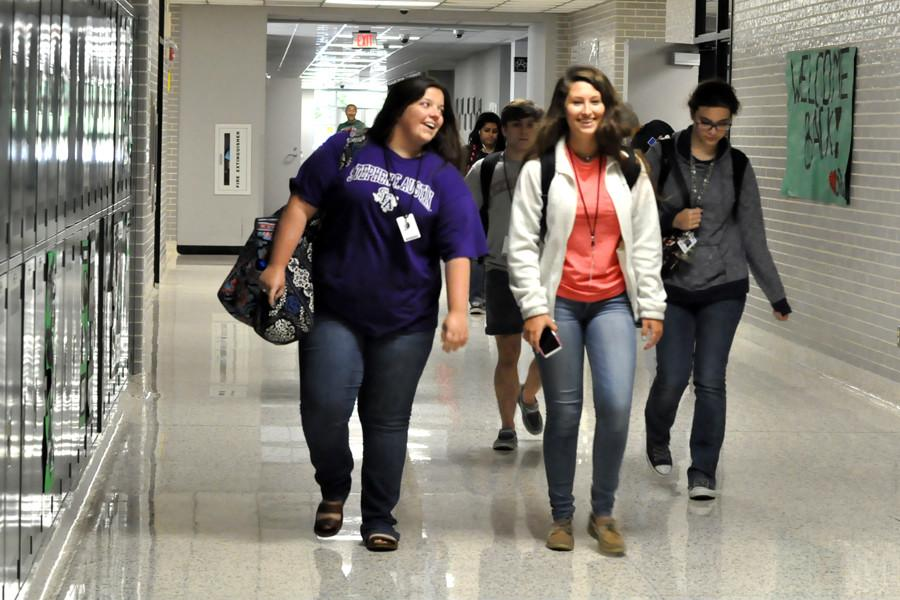 Students head to class between passing period late in September.