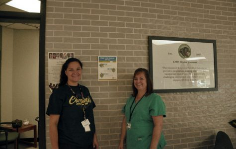 Nurse Mary Fischer and Kristin Delamer work hard to fight against the colds of flu season.