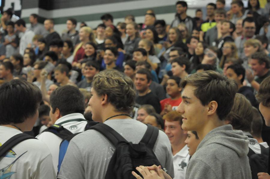 During pep rallies, bleachers are often over populated.