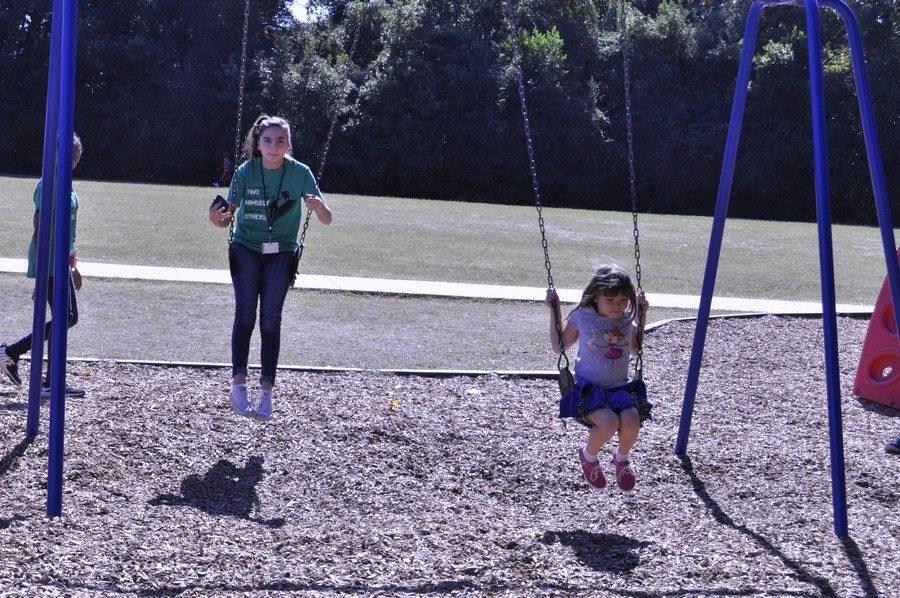 K-Park student and kid at Oak Forest Elementary during Day of Service, Nov. 15.