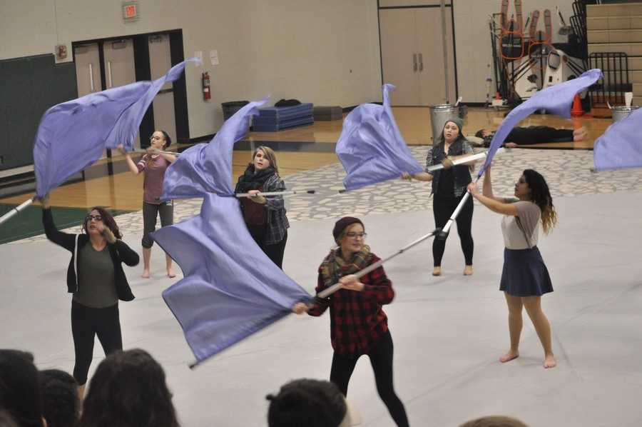 Color Guard's first indoor performance of the year on Jan 26.