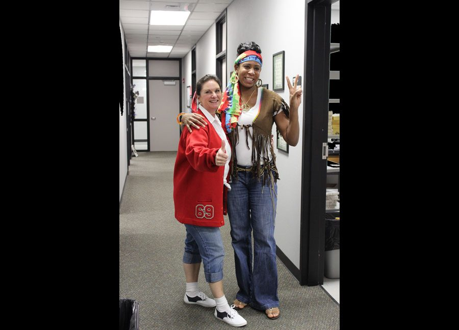Kim Davis and Kimberly Young dress up for decades day in October.