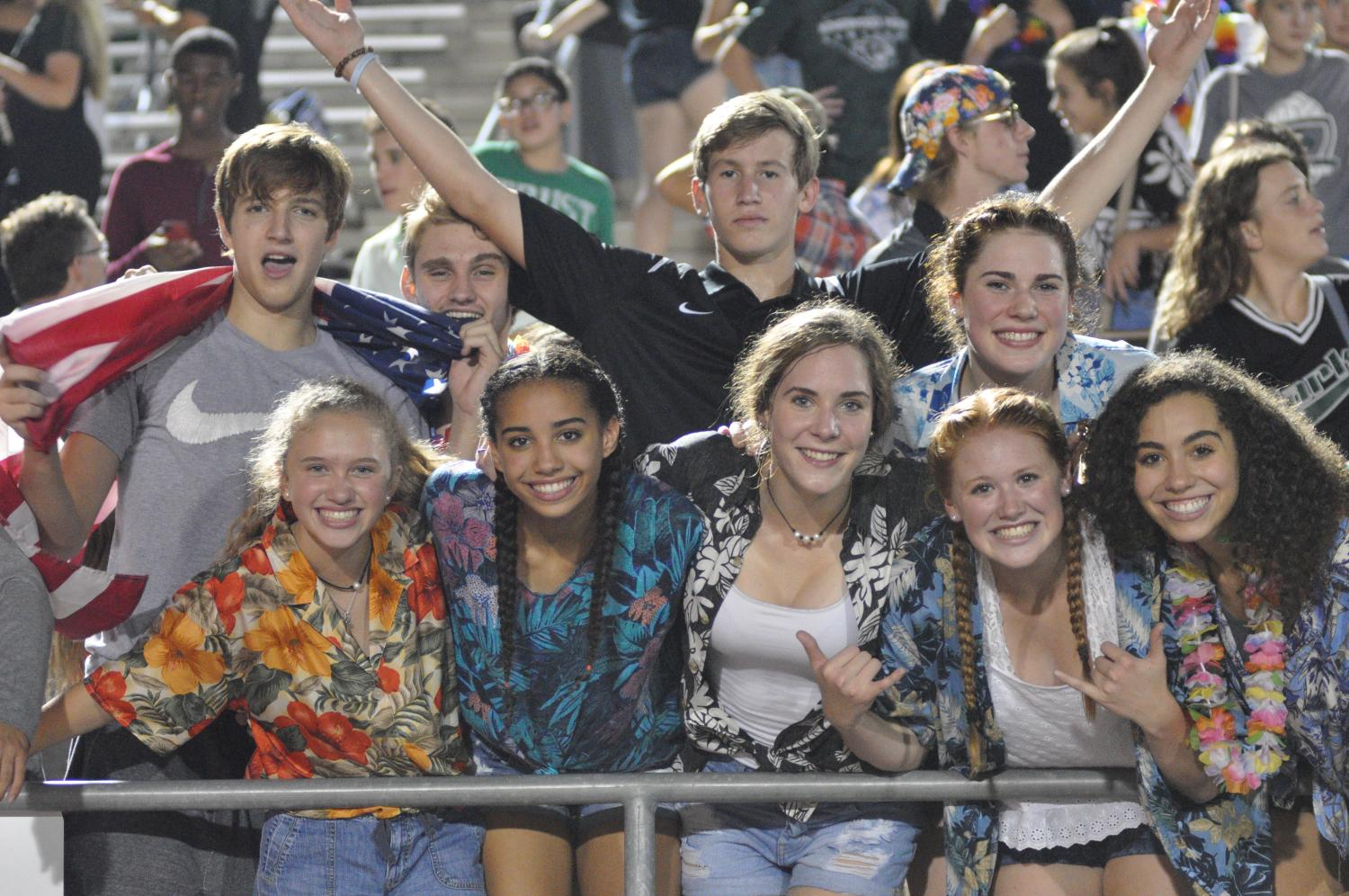 Students pose for a photo at the football game against Barbers Hill on Sept. 22