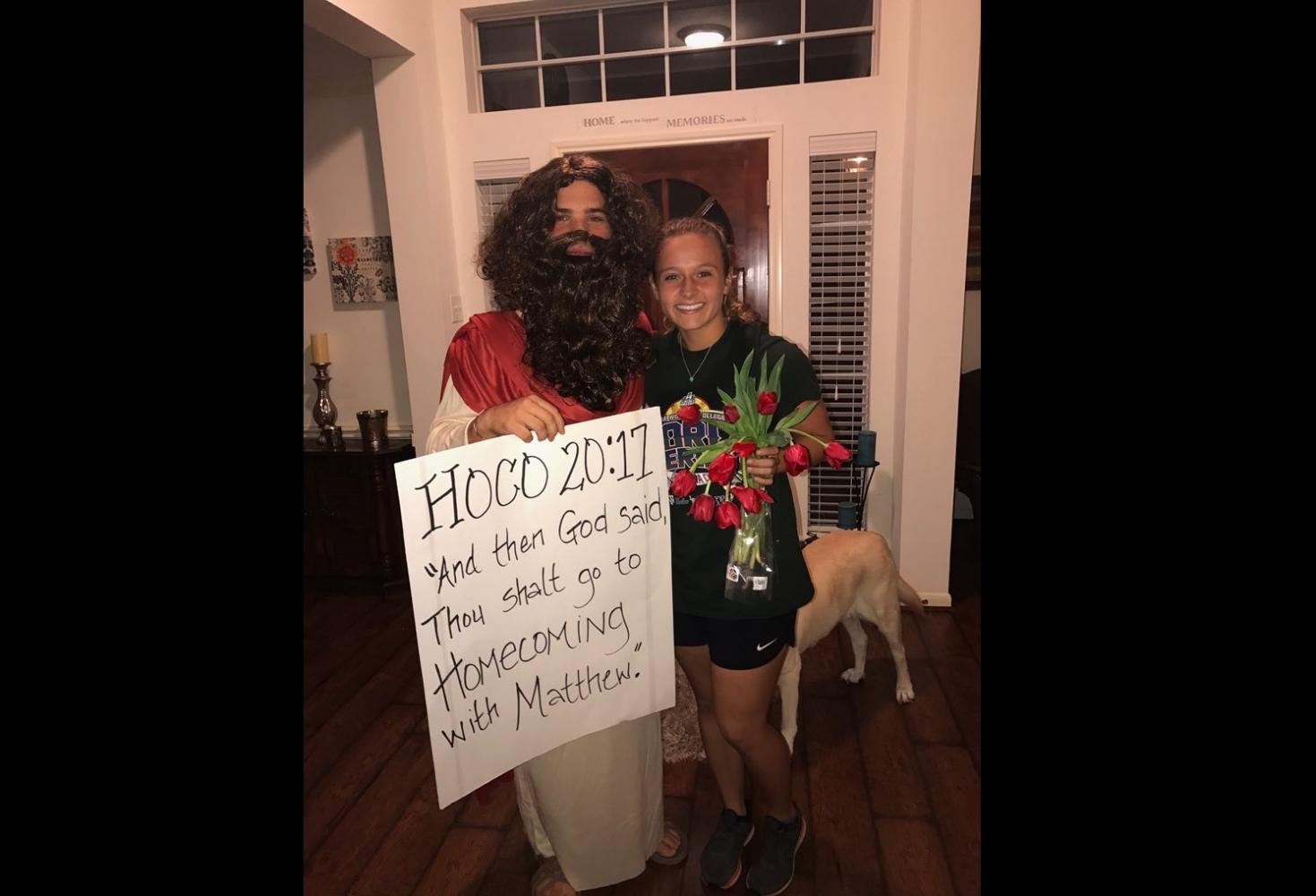 Senior Matthew Fazzino's homecoming proposal to senior Hannah Beckman-Barnes.