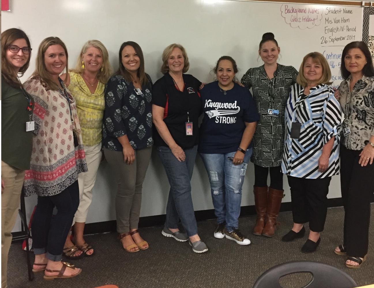Kristin Johnson, Kacie Sheridan, Cindy Babich, Tatiana Kolesnikov, Kelly Kilpatrick, Gina Sanchez, Lesa Pritchard, and Regina Garcia are all counselors and educators that volunteered to provide child care, snacks, and counseling for Harvey victims.