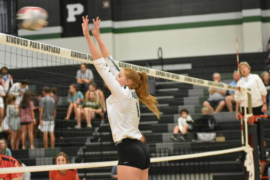 Senior+Katey+Searcy+goes+for+a+block+against+Caney+Creek+in+a+home+match+on+Aug.+28.+The+Panthers+swept+Caney+Creek+in+three+sets.+And+the+JV+and+Freshmen+teams+also+won.