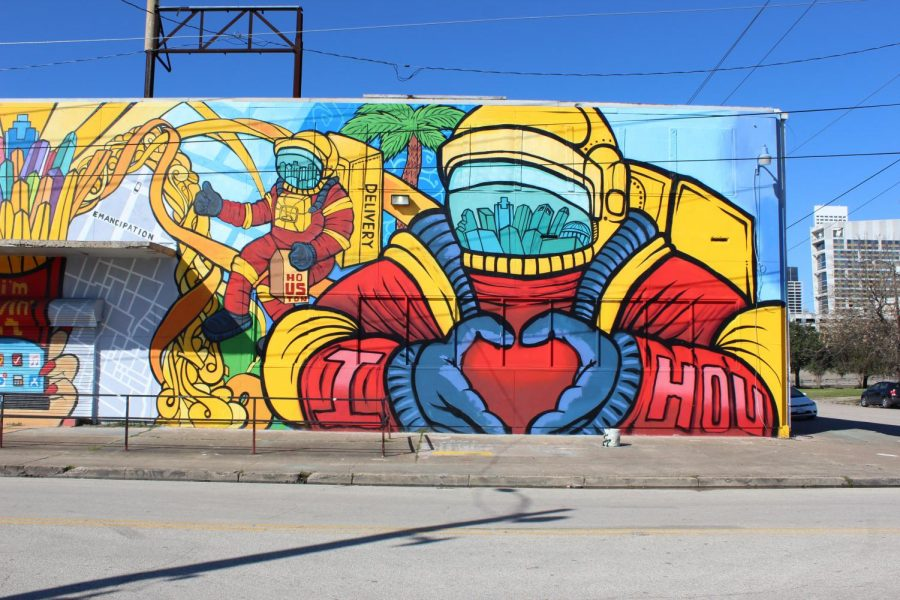 This+huge+mural+is+located+at+1503+Chartres+St.+The+bright%2C+colorful+astronaut+is+the+perfect+background+for+proclaiming+your+love+for+Houston.