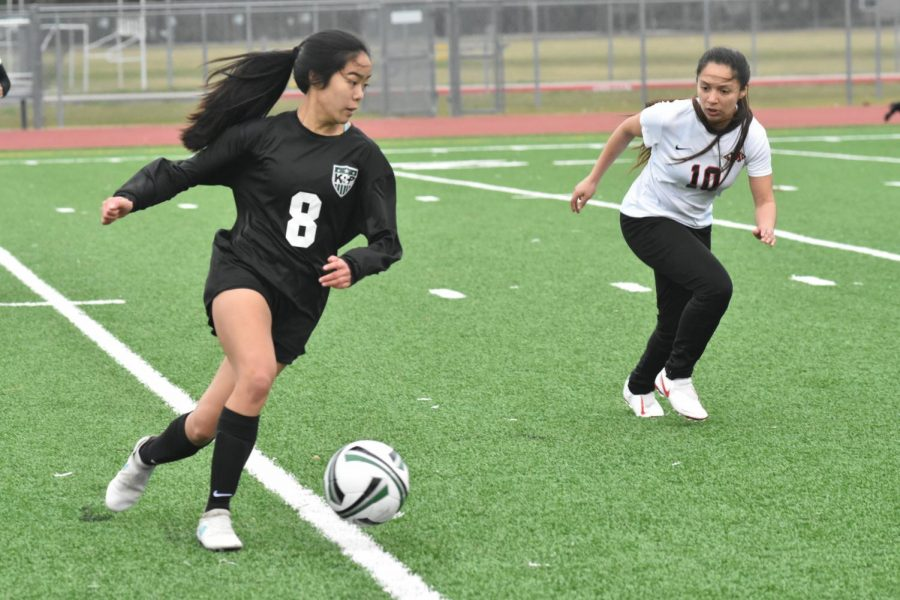 Sophomore Lori Do looks up the field in an early game at Kingwood Park.