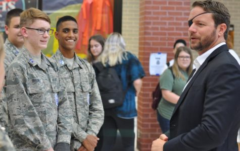 Congressman Dan Crenshaw speaks with members of the JROTC prior to speaking with members of the student body on Sept. 6 during flex hour.