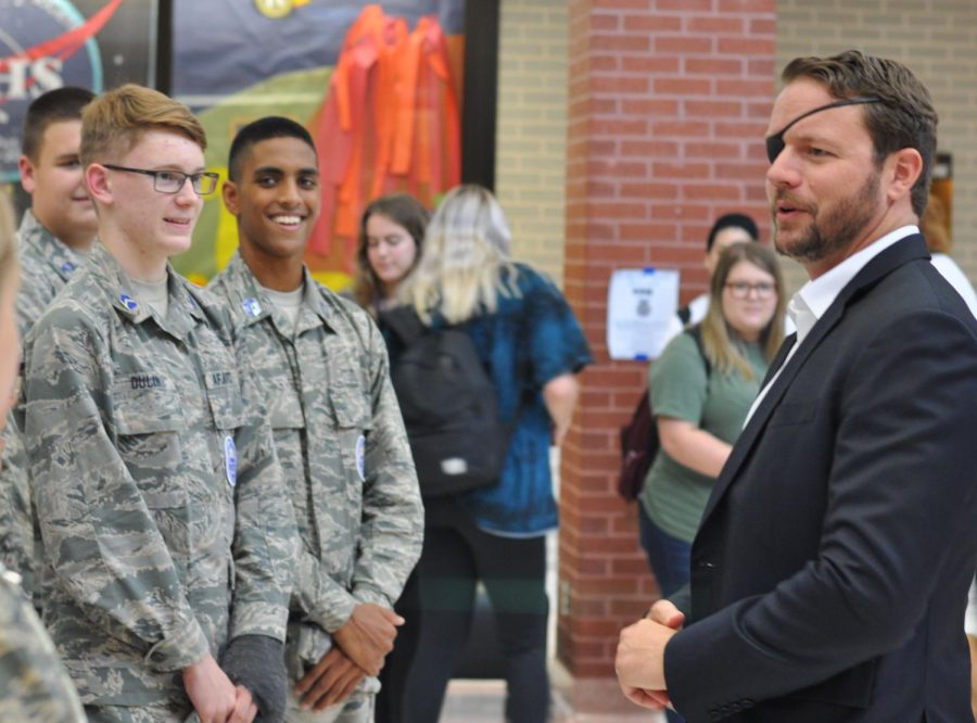 Congressman+Dan+Crenshaw+speaks+with+members+of+the+JROTC+prior+to+speaking+with+members+of+the+student+body+on+Sept.+6+during+flex+hour.+