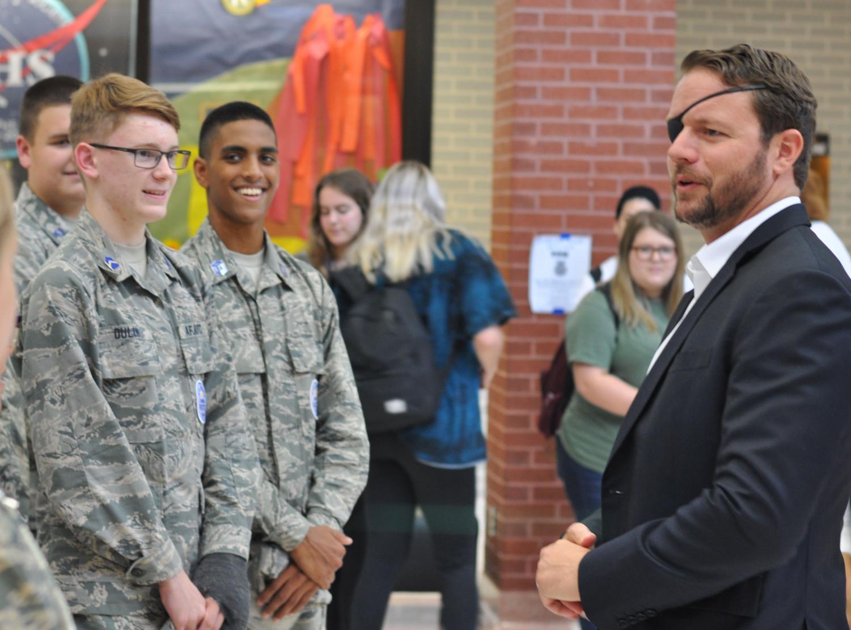 Congressman Dan Crenshaw speaks with members of the JROTC prior to speaking with members of the student body on Sept. 6 during flex hour.