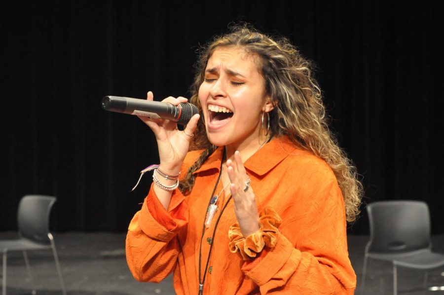 Senior Emmee Licir practices her song prior to the Humble Voice competition on Jan. 10. Licir was one of two winners. She will perform at the Humble rodeo.