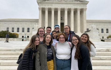 Crosslin Silcott, Gabbie Norman, Blanca Cantu, Louie Baires, Kathleen Ortiz, Jayme Wilkey, Sara Geiger, Kylee Morrison, Eliza Gonzalez and Bella Cruz stand together in front of the Supreme Court in Washington D.C.