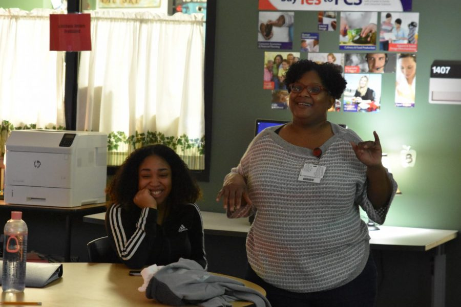 Rolanda Wilkins leads a class discussion during first period in January. The CTE teacher was shocked when it was announced she was campus Teacher of the Year. It was her first year even being a finalist of the award.