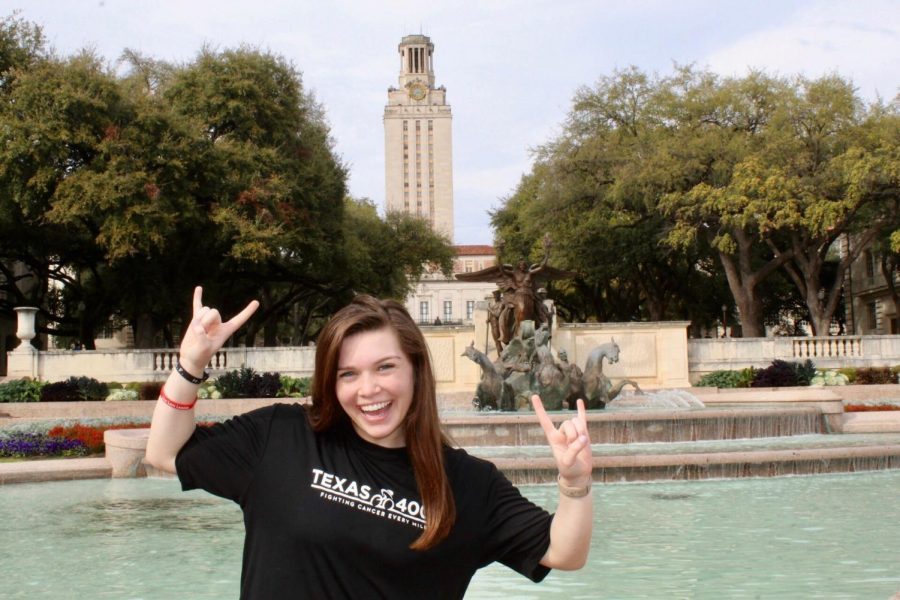 Nicole Kell, a junior at UT, poses on campus earlier this year. Kell returned to her parents' home on March 14 as UT shut down its campus because of COVID-19. Her classes have moved online.
