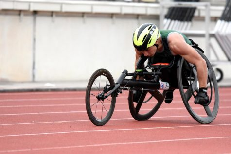 Senior Jacob Allen competes in the 400m wheelchair race on Feb. 24. While the season has been suspended, Allen has continued practicing at the Kingwood Middle track to stay in shape and prepare. He will compete at the University of Arizona next year, with his ultimate goal of competing in the 2024 Paralympic Games.