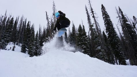 Junior Casey Smoot snowboards in Colorado over spring break.
