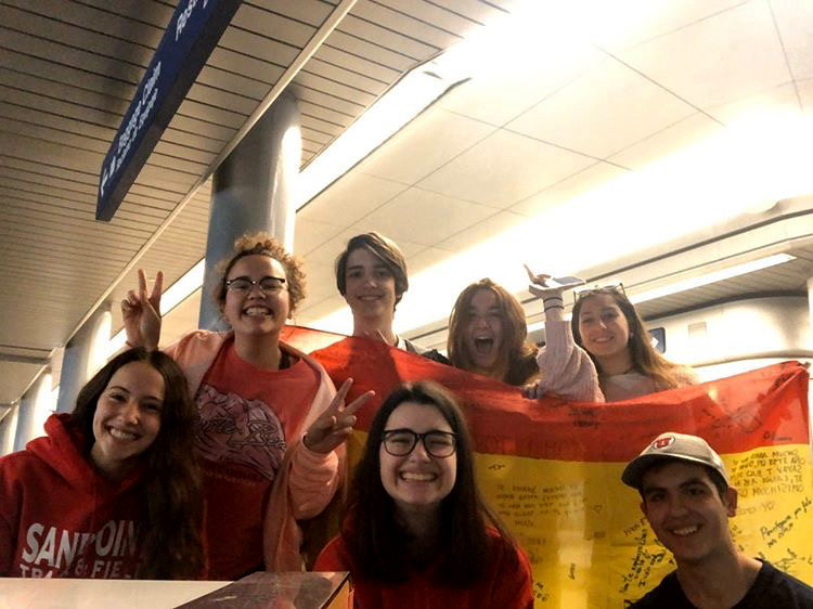Mariu Bertolo poses with other exchange students from Spain at the Chicago airport before her flight home on Mar. 27. Bertolo