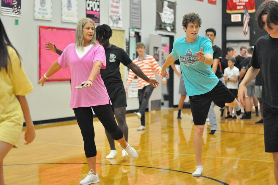 Dance teacher Cyndi Vaughn helps lead her new Dance for Athletes class in the fall.