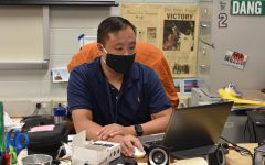 Calculus and precalculus teacher Jim Dang works in his classroom on Aug. 12.