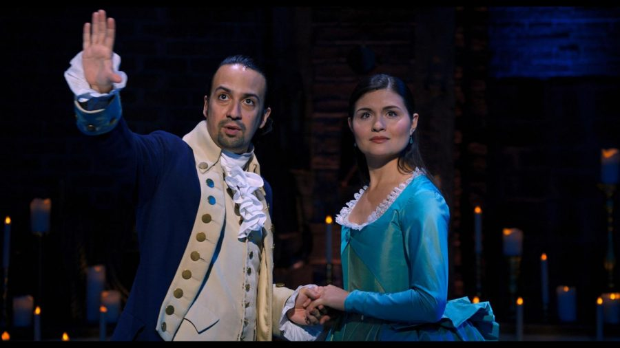 Lin-Manuel Mirand stars as Alexander Hamilton and Phillipa Soo is his wife Eliza in