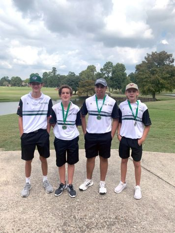 After a successful day at Atascocita Golf Club, Kane Anderson, 9, JD McComb, 9, Jett Endsley, 11,  and Austin Eagan, 10, celebrate together. Anderson finished 17th, McComb finished 9th, Endsley took 8th and Eagan finished 10th during the Oct. 15 competition.