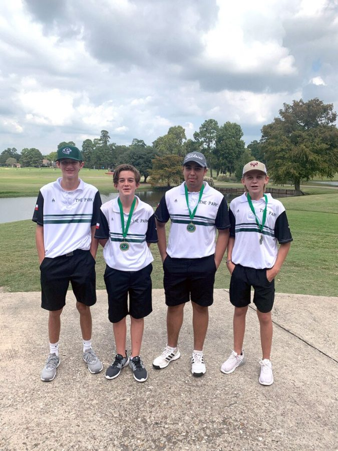 After+a+successful+day+at+Atascocita+Golf+Club%2C+Kane+Anderson%2C+9%2C+JD+McComb%2C+9%2C+Jett+Endsley%2C+11%2C++and+Austin+Eagan%2C+10%2C+celebrate+together.+Anderson+finished+17th%2C+McComb+finished+9th%2C+Endsley+took+8th+and+Eagan+finished+10th+during+the+Oct.+15+competition.+