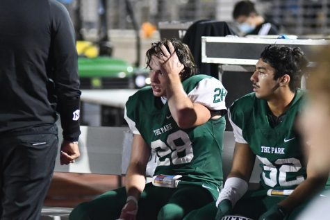 Senior linebacker Wyatt Sheppard takes a break during an offensive series in the 27-18 win against Santa Fe on Nov. 19.