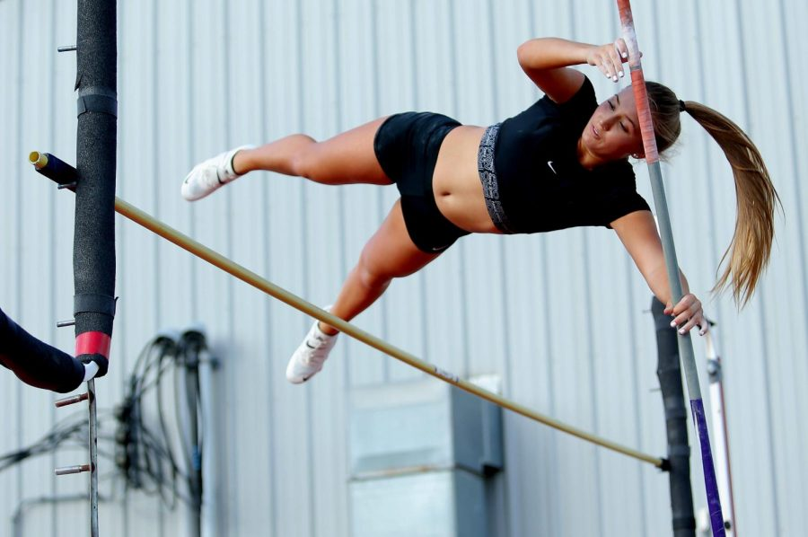Skylar Suggitt clears the bar during a practice at the Bay Area Pole Vault Academy. The senior started pole vaulting as a freshman in high school.