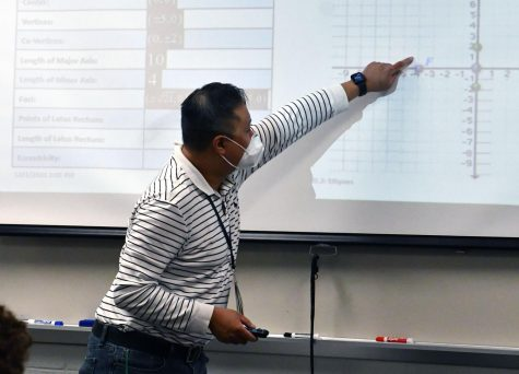 In his seventh period pre-calculus class, Jim Dang prepares his students for their final summatives of the semester. He is also helping with the tutoring plans through math NHS.
