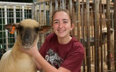 Sophomore Camille Blair takes a break with her latest lamb at the FFA barns in early November. She has raised lambs every year since her dad first suggested it in fifth grade.