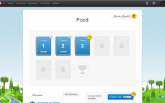 A user works through the skill tree for food, in the English to French version of Duolingo. The free app offers help for those seeking to learn new languages.