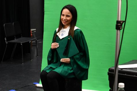 Senior Daniela Lugo Castro gets her senior photo taken for yearbook by Scott Tate Photography in September. The seniors will have their graduation ceremony outdoors at Turner Stadium. Other activities are still being discussed.