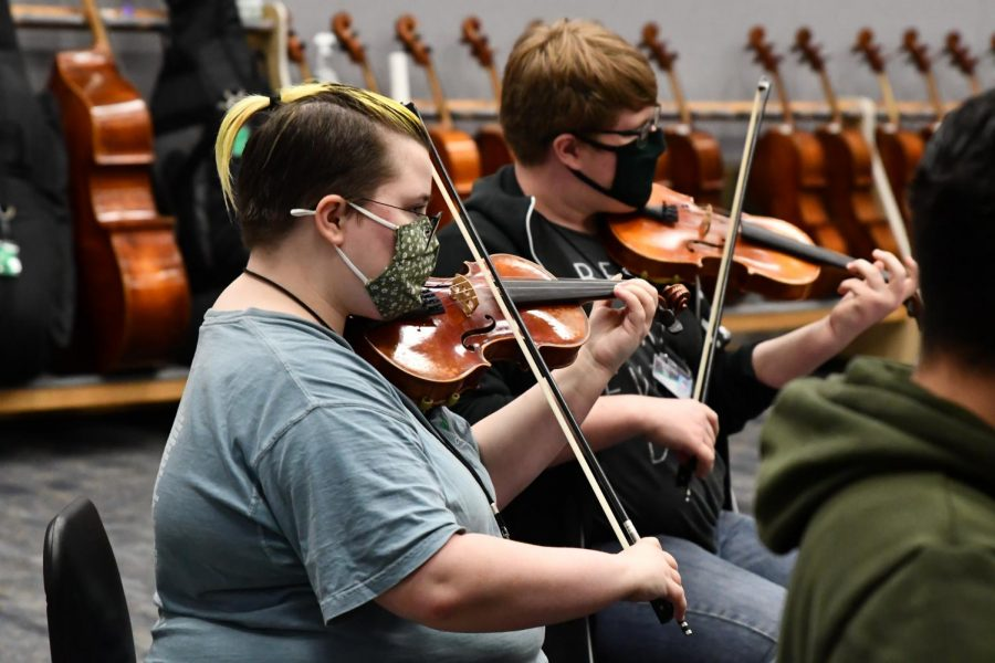 Finn Carson, 11, practices with the chamber orchestra during 6th period. The students have been preparing for the upcoming UIL competition on April 1.