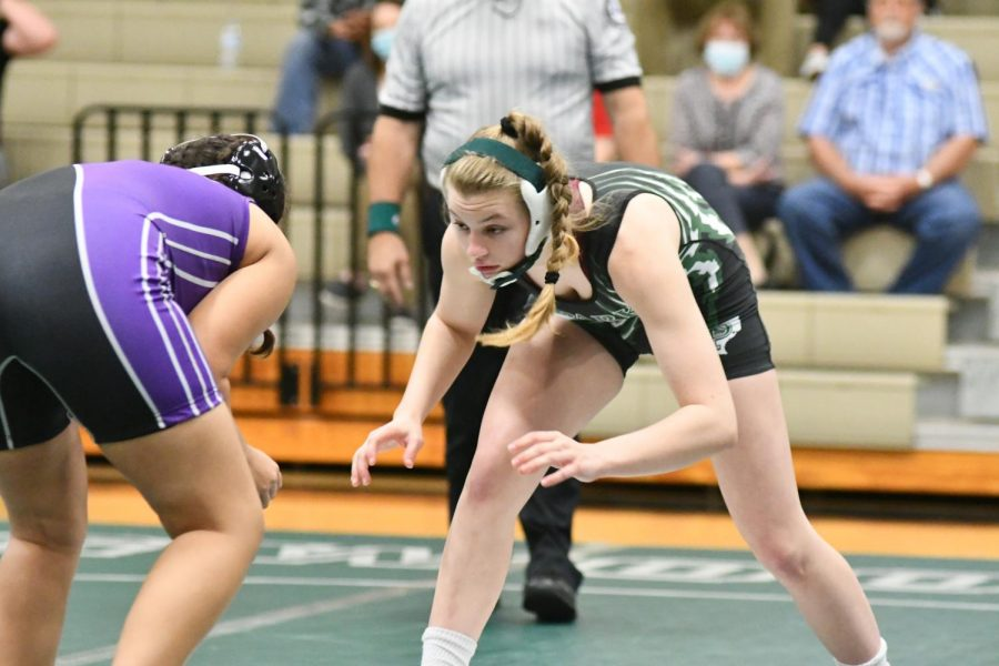 Senior Maddie Sandquist competes against an Humble opponent on March 10. Sandquist is looking to repeat as a state champion.