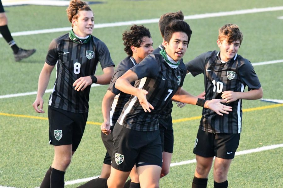Senior Jesus Cervantes motions to the crowd after scoring one of his two goals of the night. Nathan Jimerson, Gage Guerra and Cervantes each had two goals against Hendrickson.