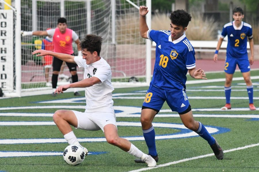 Junior defender Tony Sterner gets fouled in the 18-yard box to draw a penalty kick. The PK by Gage Guerra cut the Panthers' deficit to 3-2 with 5:57 to play in the first half.