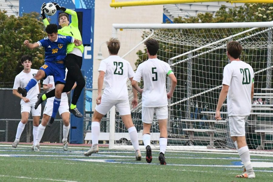 Junior Thor Yeager makes a save on a corner kick against Pharr Valley View on April 13. The Panthers won 5-4.