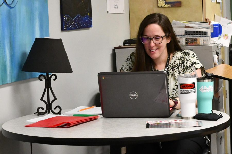 English teacher Jessica LaBello works on her planning during her conference period on May 11. She has taught AP Language this year.