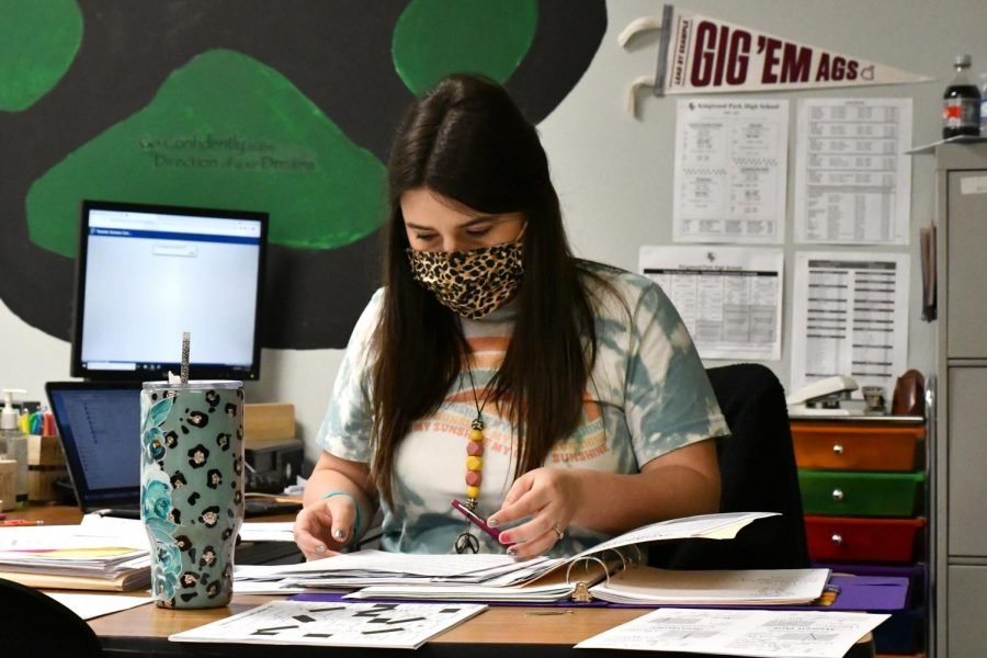 Algebra teacher Hannah Morgan works on planning during a conference period in May.