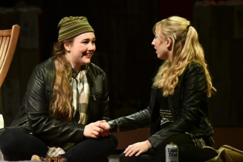 Seniors Carey Beal and Paige Heyl share a scene in Almost, Maine. The show was the first varsity performance of the year.