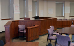 In the Summer Creek courtroom, a witness stand is attached to the judges bench. A similar plan has been made for the Kingwood Park courtroom.
