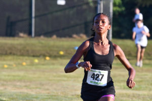Sophomore Elina Bailey competes in the Melon Run at Kingwood Park on Sept. 25. She won the girls division.
